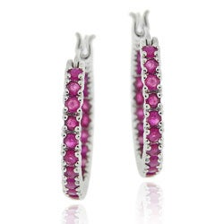 Glitzy Rocks Sterling Silver Inside-out Ruby Hoop Earrings