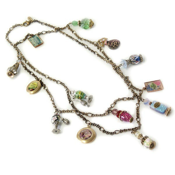 Sweet Romance Vintage French Perfume Bottles Charm Necklace