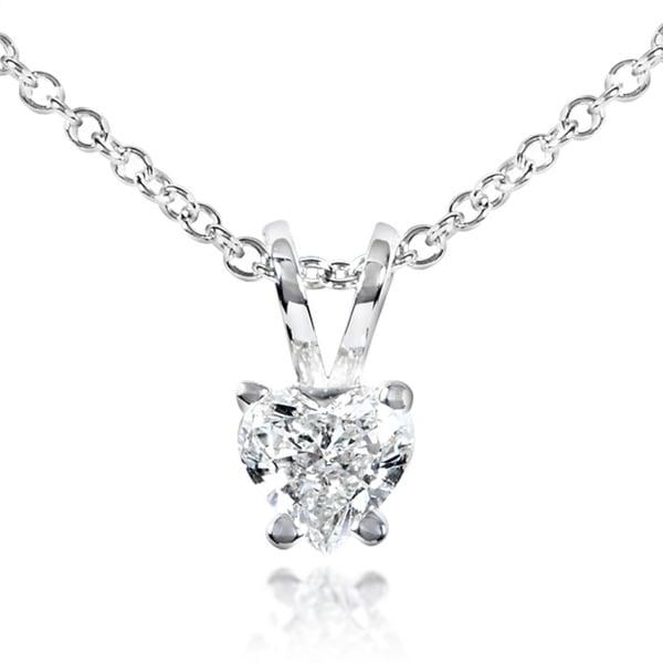 Annello 14k White Gold 1/4ct TDW Diamond Solitaire Heart Necklace (G-H, SI)