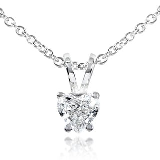 Annello 14k White Gold 1/4ct TDW Diamond Solitaire Heart Necklace (G-H, SI)