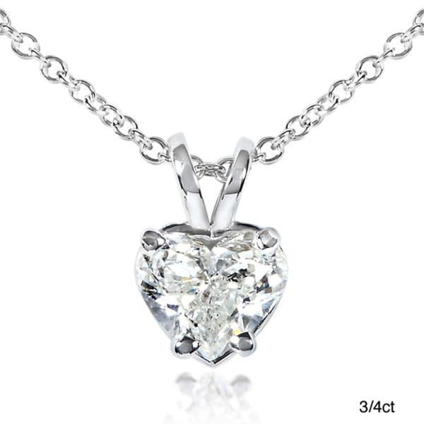 Annello 14k White Gold Diamond Heart Solitaire Necklace (G-H,SI1-SI2)