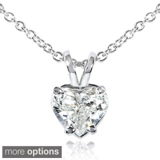 Annello 14k White Gold Diamond Heart Solitaire Necklace (G-H,SI1-SI2)