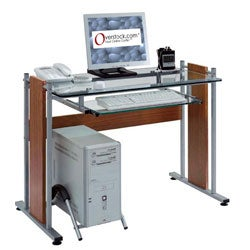 Glass-top Compact Computer Desk Workstation