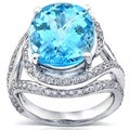 Annello 18k Gold Aquamarine and 7/8ct TDW Diamond Ring (H-I, SI)