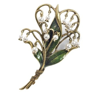 Sweet Romance Lily of the Valley Art Nouveau Flower Brooch / Pin