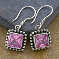 Sterling Silver Pink Topaz Square Earrings (Indonesia)