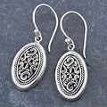 Sterling Silver 'Cawi Carving' Dangle Earrings (Indonesia)