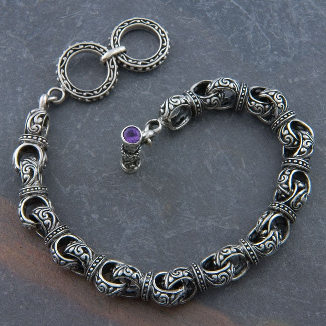 Silver 'Cawi Motif' Toggle Bracelet (Indonesia)