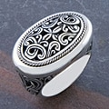 Sterling Silver Wide 'Cawi Motif Carving' Ring (Indonesia)