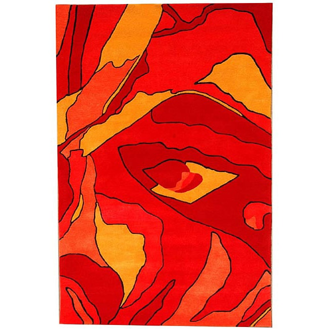 Hand-tufted Red Rose Wool Rug (8'9 x 13')