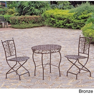 International Caravan Iron Bistro 3-piece Table and Folding Chair Set