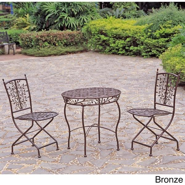 International Caravan Iron Bistro 3-piece Table and Folding Chair Set