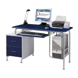 Deluxe Blue Cosmo Computer Desk Workstation