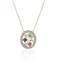 Glitzy Rocks 18k Gold over Sterling Silver Gemstone Flower Necklace