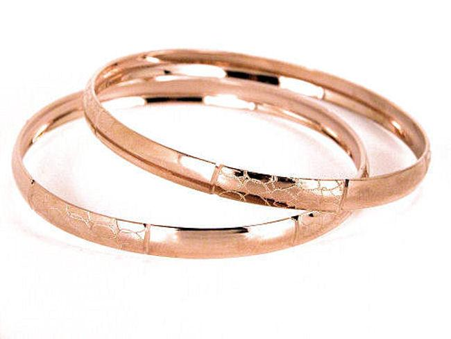 14k Rose Goldfill Bangle Bracelet Set (Mexico)