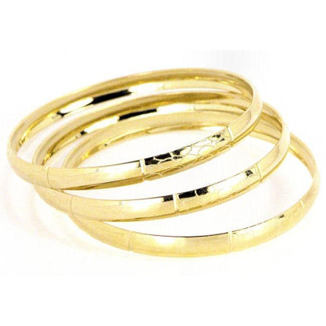 14k Yellow Goldfill Etched Circles Bangle Bracelet Set (Mexico)