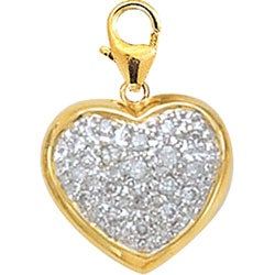 14k Yellow Gold 1/10ct TDW Diamond Heart Charm