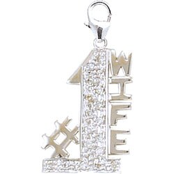 14k White Gold and Diamond #1 Wife Charm