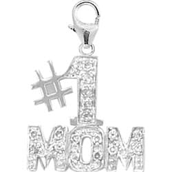 14k White Gold and Diamond #1 Mom Charm
