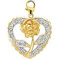 14k Yellow Gold Diamond Rose in Heart Charm