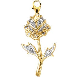 14k Yellow Gold Diamond Rose Charm