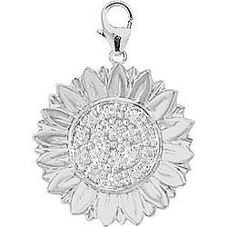 14k White Gold 1/10ct TDW Diamond Sunflower Charm
