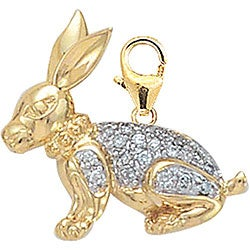 14k Yellow Gold 1/10ct TDW Diamond Rabbit Charm