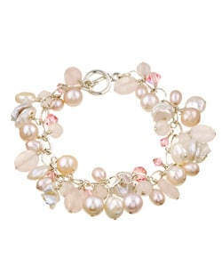 Charming Life Pink Rose Quartz and Pearl Fringe Bracelet (8-8.5 mm)