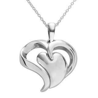 Journee Collection Sterling Silver Polished Modern Heart Necklace