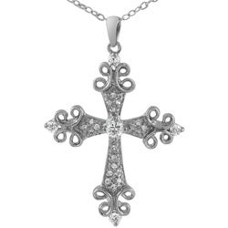 Tressa Sterling Silver Pave Cubic Zirconia Cross Necklace