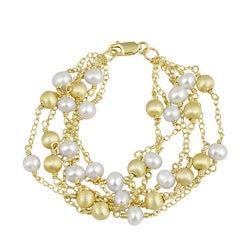 Glitzy Rocks Sterling Silver 18k Gold 6-strand FW Pearl Bracelet (6 mm)