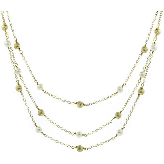 Glitzy Rocks Sterling Silver 18k Gold 3-strand FW Pearl Necklace (6 mm)