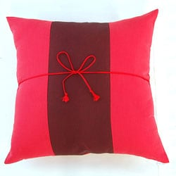 Silky Two-tone Scarlet/ Burgundy Throw Pillow Cover