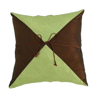 Silky Pyramid Brown/ Green Cushion Cover