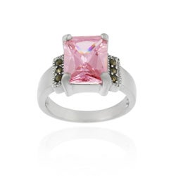 Icz Stonez Sterling Silver Marcasite and Pink CZ Cocktail Ring