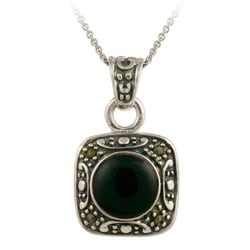 Glitzy Rocks Sterling Silver Marcasite and Onyx Square Necklace