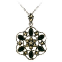 Glitzy Rocks Sterling Silver Marcasite and Onyx Flower Necklace