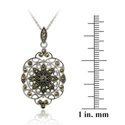 Glitzy Rocks Sterling Silver Marcasite Filigree Medallion Necklace