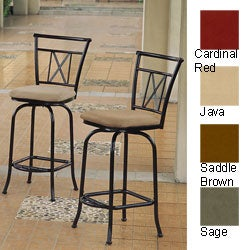International Caravan Full-back Microsuede and Iron Bar Stools (Set of 2)