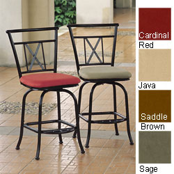 International Caravan Full-back Microsuede Iron Barstools (Set of 2)