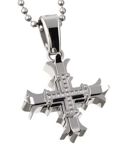 Black and Blue Jewelry Stainless Steel Diamond Cross Necklace