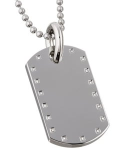 Black and Blue Jewelry Stainless Steel Diamond Dog Tag Necklace