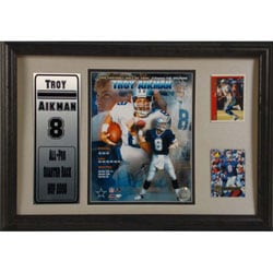 Troy Aikman 12x18 Custom Framed Print/ Trading Cards