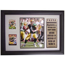 Brett Favre Farewell 12x18 Custom Framed Print with Cards