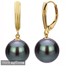 DaVonna 14k Yellow Gold Black Cultured Pearl Drop Earrings (9-9.5 mm)