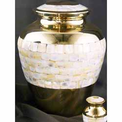 Mother of Pearl Brass Large Adult Urn