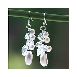 Sterling Silver 'Icicles' Pearl and Quartz Earrings (Thailand)