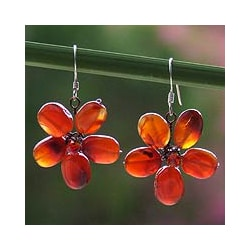 Sterling Silver 'Mystic Daisy' Carnelian Glass Earrings (Thailand)