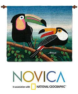 'Two Toucans' Wool Tapestry (Peru)