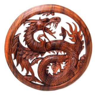 Dragon With Lotus Bud Artisan Handmade Traditional Art Handcarved Natural Brown Wood Framed Home Decor Wall Panel (Indonesia)